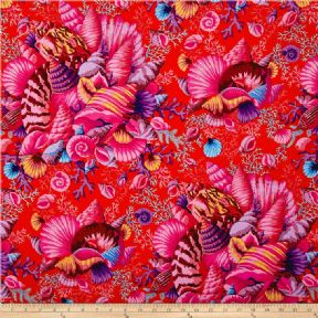 Kaffe Fassett Shell Bouquet Red- Per Quarter Metre